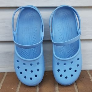 Crocs mary Jane flats blue size 11 comfort shoes